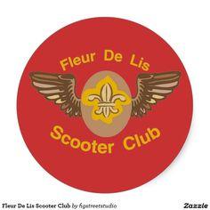 Fleur De Lis Scooter Club Classic Round Sticker