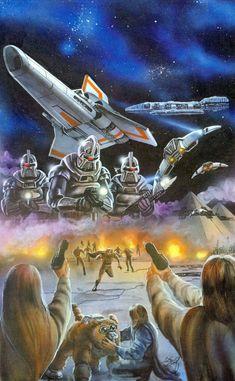 Another space battle scene by Chris Scalf. Bsg Game, Kampfstern Galactica, Battlestar Galactica 1978, 70s Tv Shows, Space Battles, Fiction Movies, Custom Action Figures, Horror Art, Dieselpunk