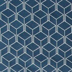 Jacqauard hvid/blå kube mønster