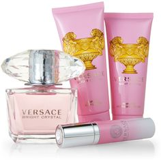 Versace 4-Piece Bright Crystal Fragrance Gift Set ($70) ❤ liked on Polyvore featuring beauty products, gift sets & kits, crystal, fragrance gift sets and versace