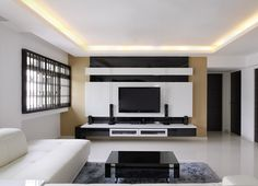 Tv Feature Wall, Feature Wall Living Room, Hall And Living Room, Feature Wall Design, Living Room Modern, Living Room Designs, Tv Cabinet Design, Tv Unit Design, Lcd Wall Design