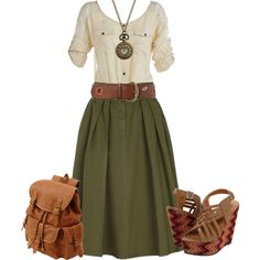 A fashion look from July 2012 featuring floral blouse, green skirt and platform shoes. Browse and shop related looks.