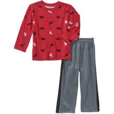 Garanimals Baby Toddler Boys' Long Sleeve Printed Tee and Tricot Pants 2-Piece Outfit Set, Toddler Boy's, Size: 4 Years, Red