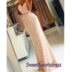 Sparkly chiffon sequins prom dress with straps, long evening dress 2017