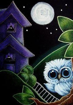 Art: TINY BABY BLUE OWL - THE WITCH HOUSE by Artist Cyra R. Cancel