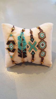 Bracelet perles miyuki vert et chocolat   Etsy