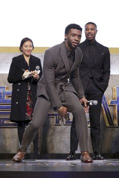 "Chadwick Boseman, Lupita Nyong'o and Michael B. Jordan Style Up for Seoul for the ""Black Panther"" Press Conference and Premiere Gorgeous Black Men, Handsome Black Men, Gorgeous Guys, Black Panther 2018, Black Panther Marvel, Black Panther Chadwick Boseman, Michael B Jordan, Black Boys, Black Pantha"