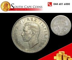 This particular 2 ½ Shilling (Half Crown) was minted in 1940 and appeared with the head of King George VI. South Cape Coins are dealers in all. King George, Cape, Coins, African, Personalized Items, Stuff To Buy, Mantle, Cabo, Cloak