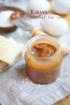 Kaya - this is the coconut jam spread I grew up with.  Weekend mornings at the local coffee shop with toast, butter and kaya oozing from the sides.  With some half boiled eggs and milo.  That was life!