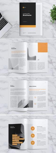 BRAND Company Profile Brochure Template InDesign INDD - 24 custom pages design Brochure Design, Brochure Template, Company Profile Design Templates, Business Flyer, Page Design, Color Change, Wedding Decor, Lettering, Flyer Design