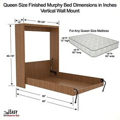 Murphy Bed Queen Size Hardware Kit - DIY Wood Frame Folding Cabinet Wall Bed for Guestroom Easy to Build, Made in USA, (Queen, Vertical) Folding Furniture, Space Saving Furniture, Diy Furniture, Space Saving Beds, Build A Murphy Bed, Murphy Bed Plans, Bedroom Bed Design, Home Room Design, Murphy Bed Hardware