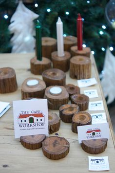 Sneezewood card and candle holders Wooden Candle Holders, Candleholders, Christmas Time, Place Card Holders, Candles, Pillar Candles, Lights, Candle
