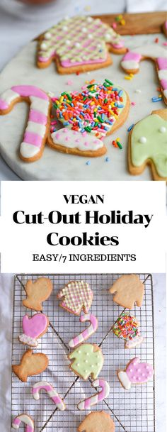 Vegan Cut-Out Holiday Cookies only require 7 basic ingredients to make delicious tender, crisp cookies that hold their shape. Decorate and eat them any way you like- but be sure to leave a few under the chimney on Christmas Eve! #vegan #holidaycookies #sugarcookies #cookiedecorating #cutoutcookies #vegansugarcookies #bestcookierecipes #cookierecipes #veganbaking #easyveganbaking #holidaydesserts #cutoutsugarcookies