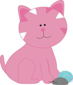 Pink Kitten with a Mouse and Yarn clip art Image