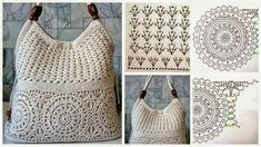 Free patter for crocheted beach, tote, shopping or shoulder bag patternCrochetpedia: Lots of Crochet Purse Patterns and mobile purse patterns! The place where construction meets design, beaded crochet is t Crochet Backpack, Crochet Tote, Crochet Handbags, Crochet Purses, Bead Crochet, Crochet Purse Patterns, Crochet Motifs, Crochet Stitches, Mode Crochet