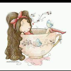 Art And Illustration, Illustration Mignonne, Art Fantaisiste, Art Mignon, Tea Art, Cute Images, Whimsical Art, Cute Drawings, Painting & Drawing