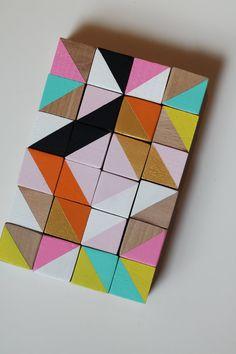 wooden cube blocks modern geometric sculpture art.