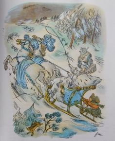 Jan Marcin Szancer illustration from 'The Snow Queen' from 'The Fairytales of Hans Christian Andersen'; translated by Stefania Beylin and Stanisław Sawicki, 1978 Children's Book Illustration, Illustrations, Vintage Book Art, Andersen's Fairy Tales, Fairytale Fantasies, Goth Art, Dark Fantasy Art, Snow Queen, Magical Creatures