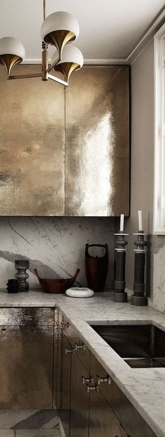 Modern industrial kitchen with hammered sterling panels -for bathroom unit!