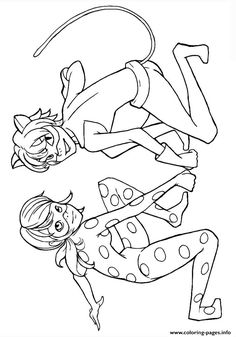 Print miraculous ladybug and cat noir kiss season 1 coloring pages