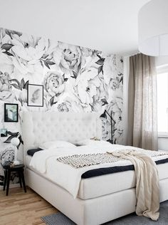wallpaper accent wall Peony Flower Mural Wall Art Wallpaper - Peel and Stick Vinil Wallpaper, Accent Wallpaper, Wall Art Wallpaper, Mural Wall Art, Peel And Stick Wallpaper, Black Wallpaper Bedroom, Wallpaper Ideas, Wall Decal, Wallpaper For Walls