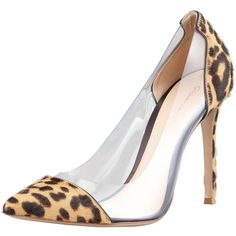 Gianvito Rossi Leopard-Print Calf Hair-PVC Pump ($385) ❤ liked on Polyvore featuring shoes, pumps, heels, leopard, high heeled footwear, d orsay pumps, leopard pumps, high heel pumps and leopard d orsay pump