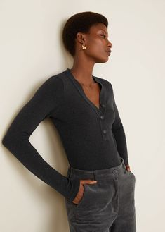 Cable knit design Fabric with cotton V-neck Button up Long sleeve TAKE ACTION collection brings in the use of sustainable fibers reducing the environmental impact. Ribbed Top, Knitting Designs, Punk Rock, Cable Knit, Fabric Design, Long Sleeve Tops, Button Up, Cotton Fabric, T Shirt
