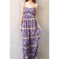 | new | purple patterned maxi dress offers welcome new with tag size small or medium purple and tan patterned maxi dress with adjustable straps and side zipper. bb dakota jack collection. •461086•  website: XOmandysue.com  sign up for surprise, stylist-curated monthly looks based on your style! use code first25 to get your first outfit for just $25!  instagram: XOmandysue BB Dakota Dresses Maxi