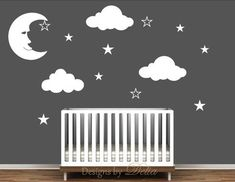 ♥♥♥♥ Included ♥♥♥♥ 1 Moon - tall by wide 3 Clouds - tall by wide 10 Stars Directions for applying your decals ♥♥♥♥ Colors ♥♥♥♥♥ In the 'message to seller' section at checkout please in Clouds Nursery, Star Nursery, Owl Nursery, Kids Wall Decals, Nursery Wall Decals, Wall Sticker, Baby Boy Rooms, Baby Boy Nurseries, Nursery Themes
