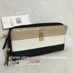 Jessica Simpson Ellie Double Zip Wallet Black Champagne White Padlock JS13172 | eBay