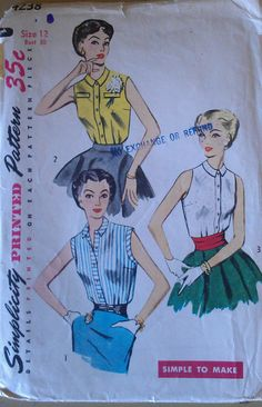 Vintage 50s Button Front Sleeveless Shell Peter Pan Collar Blouse EASY Sewing Pattern Simplicity 4238 B30 XXS