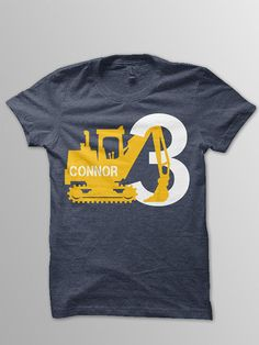 Digger birthday shirt toddler construction by ConchBlossom on Etsy