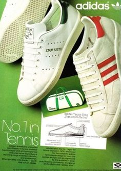 The 100 Best Tennis Advertisements We've Ever Seen Adidas Vintage, Adidas Retro, Vintage Tennis, Vintage Sneakers, Vintage Shoes, Basket Vintage, Levis, Adidas Runners, Adidas Spezial