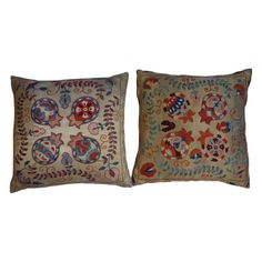 Colorful Embroidered Pillows- Pair - $375 Est. Retail - $175 on Chairish.com
