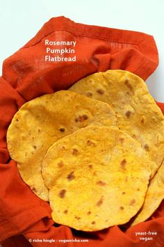 Rosemary Pumpkin Flatbread. Yeast-free Pumpkin flat bread with herbs. Use as side, as tortillas or to make wraps. #Vegan #Recipe. VeganRicha.com