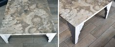 """Coffee table Coliseum light is a combination of light wood and natural Peruvian Travertine """"Coliseum"""""""