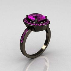 Classic 14K Black Gold 3.0 CT Oval Amethyst Designer Solitaire Ring R72-BGAM