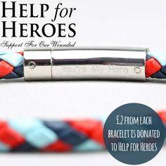 Engraved Men's 'Help For Heroes' Leather Bracelet at lisaangel.co.uk