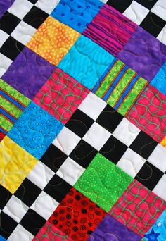 Toddler Quilt Crib Quilt Checkerboard Brights   36 by MonkeyMuffin, $75.00