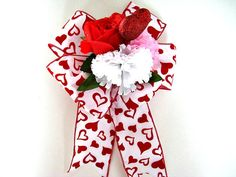 Valentine holiday gift bow Red and pink by JDsBowCreations on Etsy