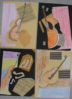 Picasso guitar collage lesson plan.