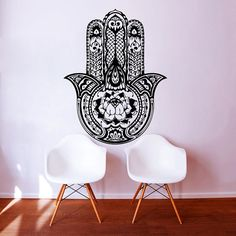 Wall Decal Yoga  Fatima Hand Hamsa Indian Buddha Ganesh Decals  Lotus Vinyl Sticker Wall Decor Home Interior Bedroom Studio Design Art MN416