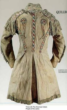 "European Style buckskin beaded frockcoat via ""Multiculturalism for Steampunk""  A buckskin frockcoat done in the Metis style- mid-19th century Canada."