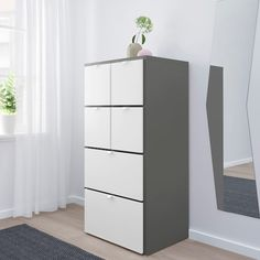 IKEA VISTHUS chest of 6 drawers The bottom drawers have castors and therefore easy to move about. Hacks Ikea, Plastic Foil, Particle Board, Drawer Fronts, Chest Of Drawers, Grey And White, Tall Cabinet Storage, Interior, Furniture
