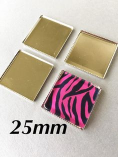 20 Platinum Plated Brass 25mm Square Bezel Cups Tray Settings Laced Edges Magnets Photos by theglassconnection on Etsy