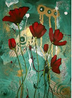 Red Jaded Poppies II by Cherie Roe Dirksen (high quality prints available) #art