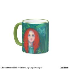 Child of the forest, red haired girl, green shades ringer mug #red, #hair, #haired, #green, #forest, #magical, #fantasy, #art, #orange, #green, #ginger, #celtic, #irish, #dryad, #ireland, #girl, #painting, #drawing, #fairytale, #pagan, #child, #pastel, #redhead, #emerald, #faerie, #bird, #kid, #hair, #red, #magic, #goddess, #fairy, #Erin, #stpatrickday,  #st, #saint, #patrick, #patricks, #day, #print, #printed, #gift, #mug, #coffeemug, #drinkware, #tableware, #porcelain