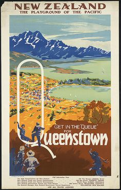"Get in the ""queue"" for Queenstown. New Zealand by Boston Public Library, via Flickr"