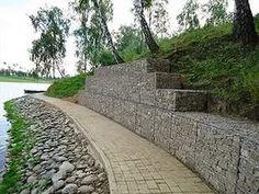 Gabion Wall Design, Gabion Retaining Wall, Gabion Baskets, Baskets On Wall, Diy Wall, Sidewalk, New Homes, Construction, Landscape