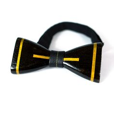 OKTIE Classic Wooden Bow Tie Handmade Bowtie Wood Accessories Gift for Men Ash curved bow tie Black with Cuff links gold stripes